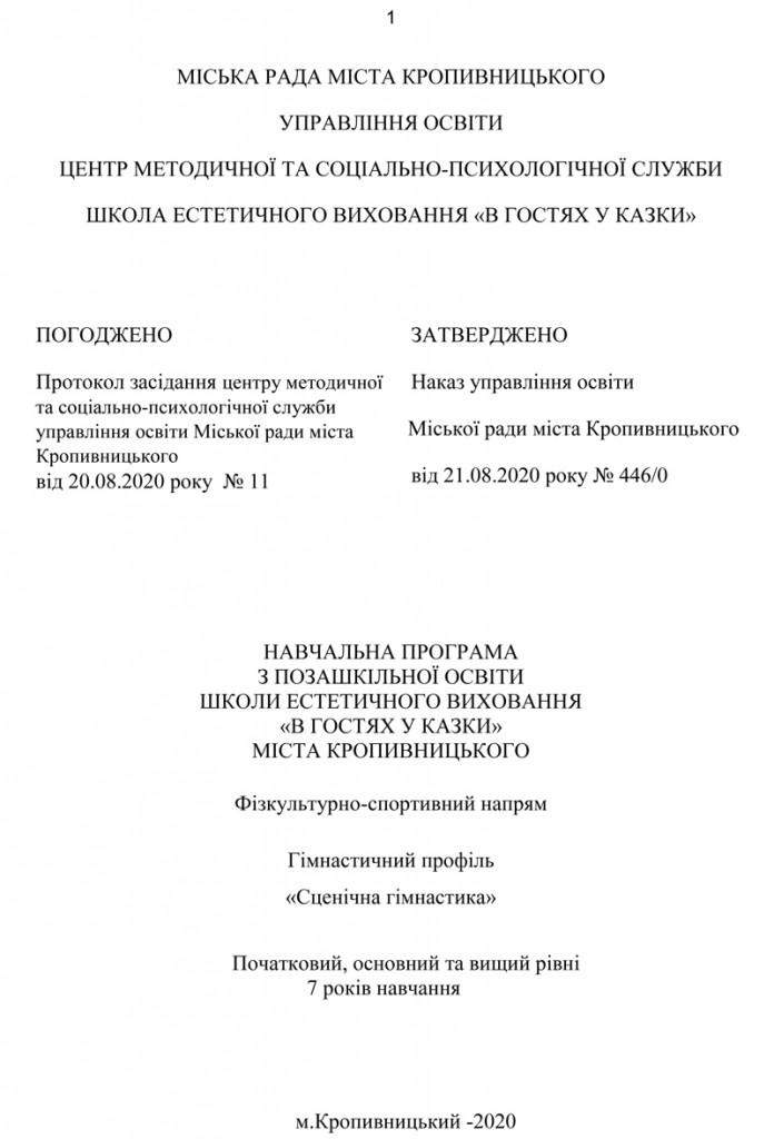 Програма Сценічна гімнастика. 1